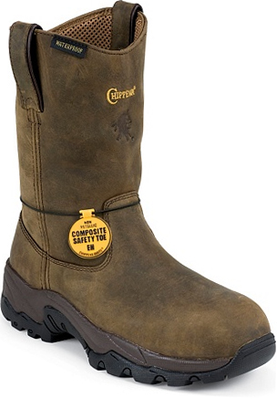"Men's Chippewa Boots 10"" Composite Toe WP Wellington Work Boot 55171"