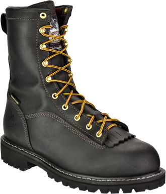 "Men's Georgia Boot 8"" Steel Toe WP/Insulated Logger Work Boot G8340"