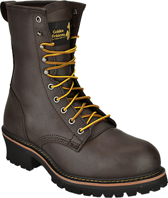 "Men's Golden Retriever 9"" Steel Toe Logger Work Boot 9075"