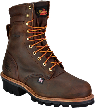 "Men's Thorogood 8"" Steel Toe WP/Insulated Logger Work Boot (U.S.A.) 804-3550"