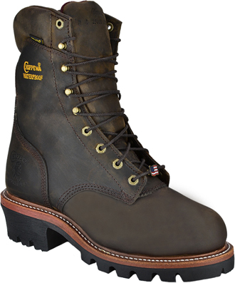 "Men's Chippewa Boots 9"" Steel Toe WP Super Logger Work Boot (U.S.A.) 25407"