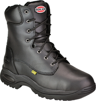 "Men's Iron Age 8"" Steel Toe Metguard Side-Zipper Work Boot IA6880"