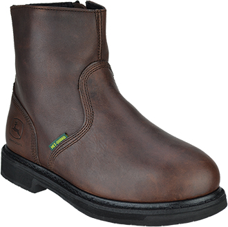 "Men's John Deere 7"" Steel Toe Side-Zipper Metguard Wellington Work Boot JD7305"