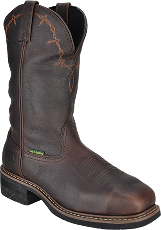 "Men's John Deere 12"" Steel Toe Western Wellington Metguard Work Boot JD5375"