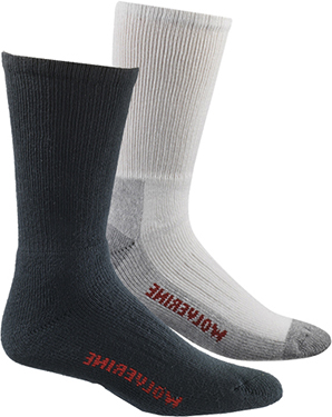 "Wolverine 2-Pair-Pack ""Steel Toe"" Footwear Usage Cotton Sock (U.S.A.) W91100270"