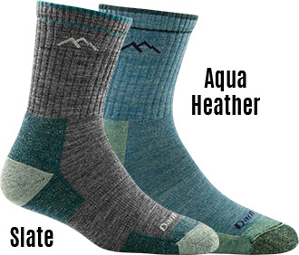 Aqua Heather-Medium Darn Tough 1903 Womens Hiker Micro Crew Cushion Socks