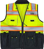 MAX Apparel Hi-Viz ANSI Class 2 Deluxe Black Bottom Surveyors Vest MAX490